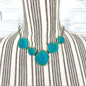 Jewelry - Antique Gold Necklace & Teal Faux Druzy Stones